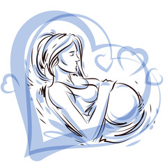 Pregnant female surrounded by heart shape frame hand drawn vector illustration, beautiful lady gently touching her belly. Love and tenderness concept.