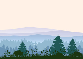 Sunny forest background. Vector illustration of woods in forest in sunlight background. Isolated
