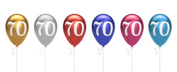 Number 70 birthday balloons collection gold, silver, red, blue, pink. 3D Rendering