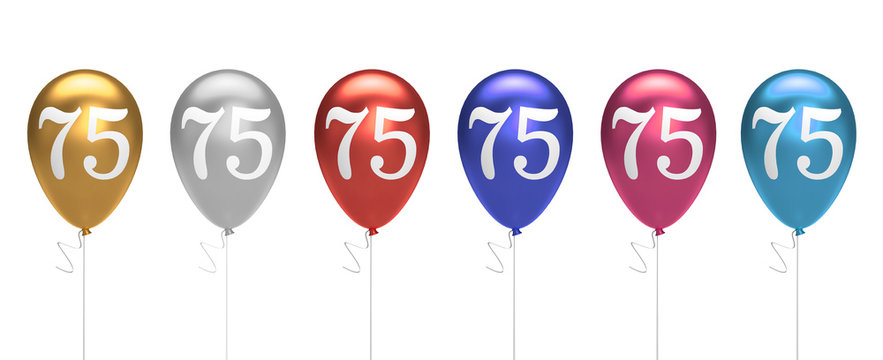 Number 75 birthday balloons collection gold, silver, red, blue, pink. 3D Rendering