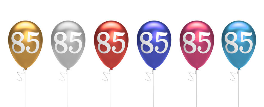 Number 85 birthday balloons collection gold, silver, red, blue, pink. 3D Rendering