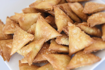sambousek, filled pastries, a traditional appetizer from the arabic cuisine