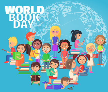 Group of Reading Schoolchildren on World Book Day