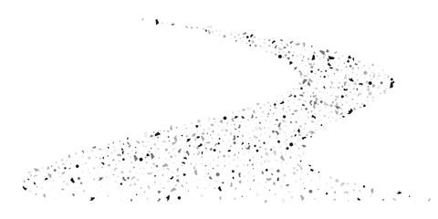 Silver glitter confetti on a white background.