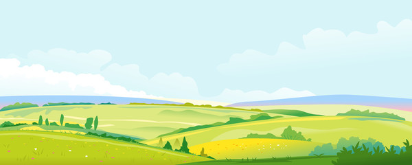 Fields and Meadows Panorama Landscape Background