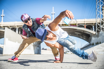 Breakdancers taking a selfie
