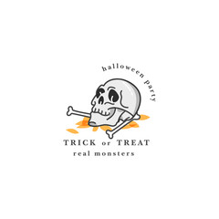 Vector illuatration human skull with bones. Happy Halloween party celebration. Holiday badge on white background. Greeting or invitation card for monsters fair or party.