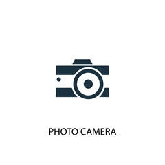 Photo camera creative icon. Simple element illustration