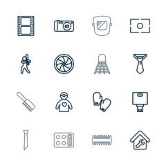 Collection of 16 professional outline icons