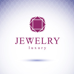 Vector glossy red ruby. Luxury diamond sign emblem. Brilliant jewelry illustration.
