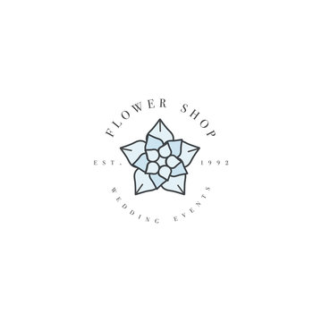 Vector template logo or emblem - wedding events - succulents.. Logo in trendy linear style.