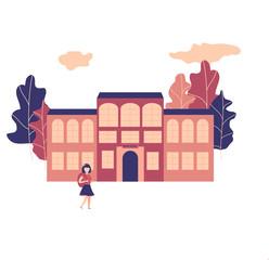 Flat style. Back to school! Cute school girl. Vector illustration. EPS10