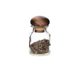 bottle glass pepper on isolated white background