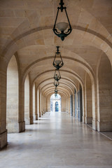 Arches corridor at the Odeon Theater in Paris France