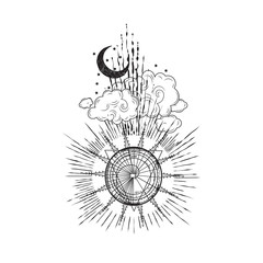 Spiral Sun Moon Cloud Tattoo Design Vector Artwork