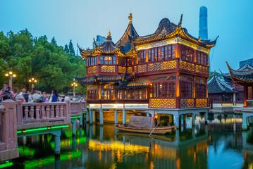 Aluminium Prints Shanghai night view of yu yuan garden in shanghai, china
