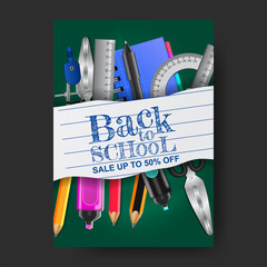 back to school poster with stationary and paper on the chalkboard. vector illustration. special sale offer template