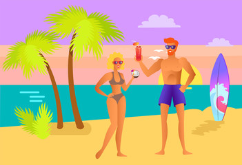 Suntanned Girl and Guy with Cocktails on Beach