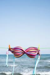 bikini hanging on a clothes line