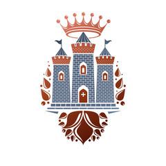 Heraldic vector design element. Retro style label, heraldry illustration. Antique Bastion logotype on isolated white background.
