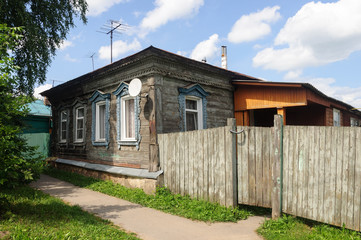Old wooden house in small Russian town