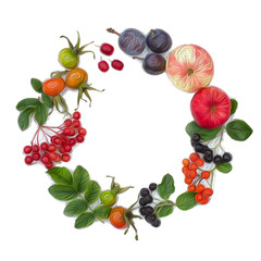 Autumn harvesting. Composition of fruits, berries on a white background. Apples, viburnum, dogwood, dog rose, rowan, chokeberry. Round frame with space for text