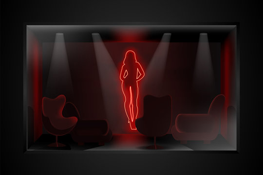 Neon image of dancing striptease in a dark room with furniture. Brothel illustration