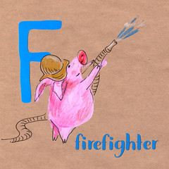 Alphabet for children with pig profession. Letter F. Firefighter