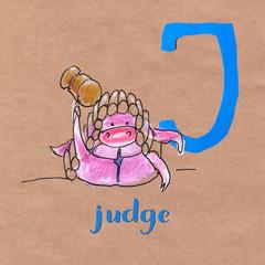 Alphabet for children with pig profession. Letter J. Jude