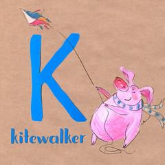 Alphabet for children with pig profession. Letter K. Kitewalker