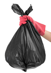 woman hand with red glove holding full Garbage bag, Isolated  on white background.