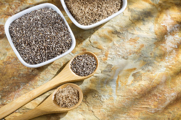Healthy Chia seeds in a wooden spoon