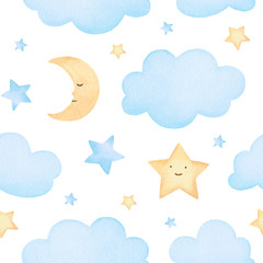 Watercolor illustrations of stars and clouds. Cute seamless pattern