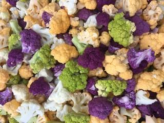 Multi-colored cauliflower florets