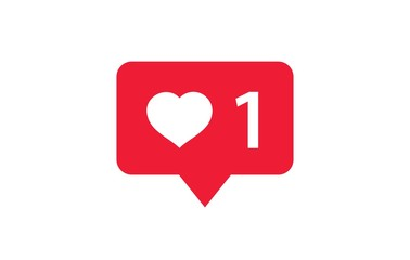 Facebook Like and Heart Love Icon. Liked Red Bubble on a white background