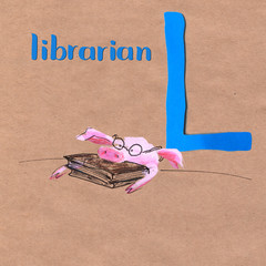 Alphabet for children with pig profession. Letter L. Librarian
