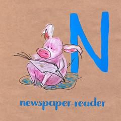 Alphabet for children with pig profession. Letter N. Newspaper reader