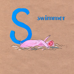 Alphabet for children with pig profession. Letter S. Swimmer