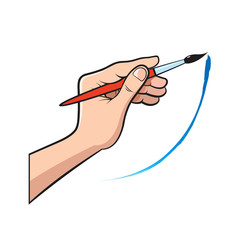 isolated hand with artist brush vector illustration