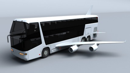 3D illustration of Super high speed bus with aircraft wings