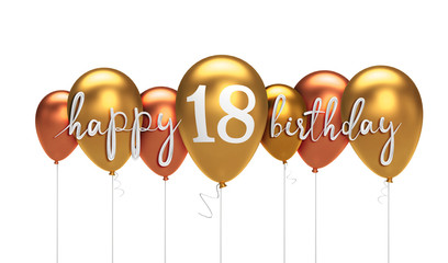 Happy 18th birthday gold balloon greeting background. 3D Rendering Wall mural