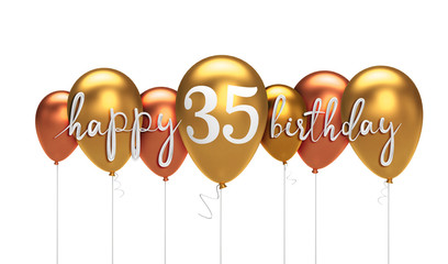 Happy 35th Birthday Gold Balloon Greeting Background 3D Rendering