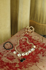 Assorted jewelry on table
