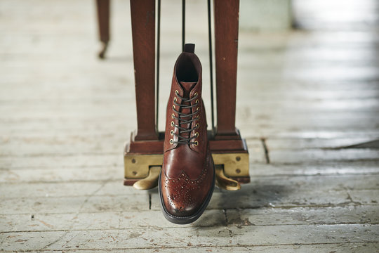 One brown boot