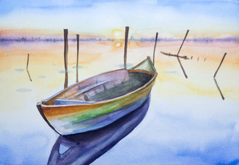 Watercolour boat on water