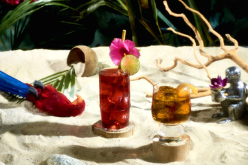Cocktails in tropical still life