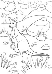 Coloring pages. Mother kangaroo with her little baby.