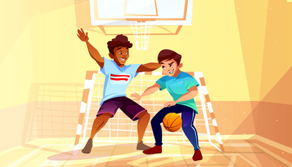 Boys playing basketball vector illustration of black Afro American teen or young man with ball in college or university gymnasium. Men in sport hall interior cartoon background
