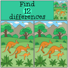 Educational game: Find differences. The kangaroo family.
