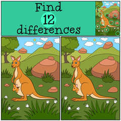 Educational game: Find differences. Mother kangaroo with her baby.